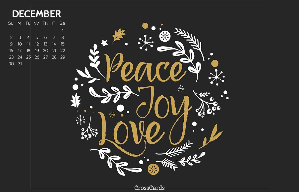 December 2018 - Peace, Joy, Love ecard, online card