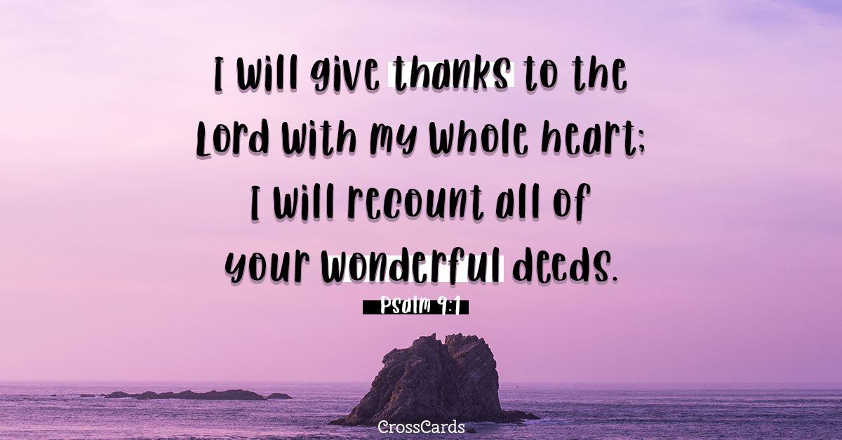 Psalm 9:1 ecard, online card