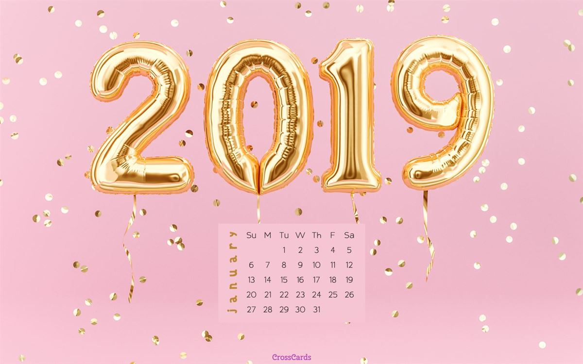 January 2019 - Pink 2019 ecard, online card