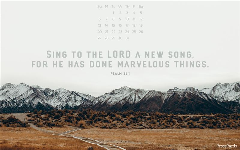 January 2019 a new song desktop calendar free january - Crosscards christian wallpaper ...
