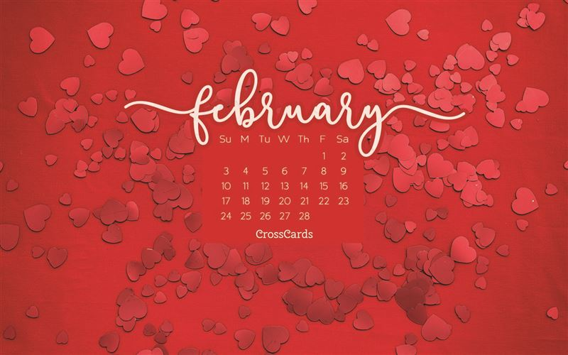 February 2019 - Red Hearts mobile phone wallpaper