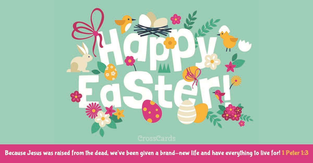 Happy Easter - 1 Peter 1:3 ecard, online card