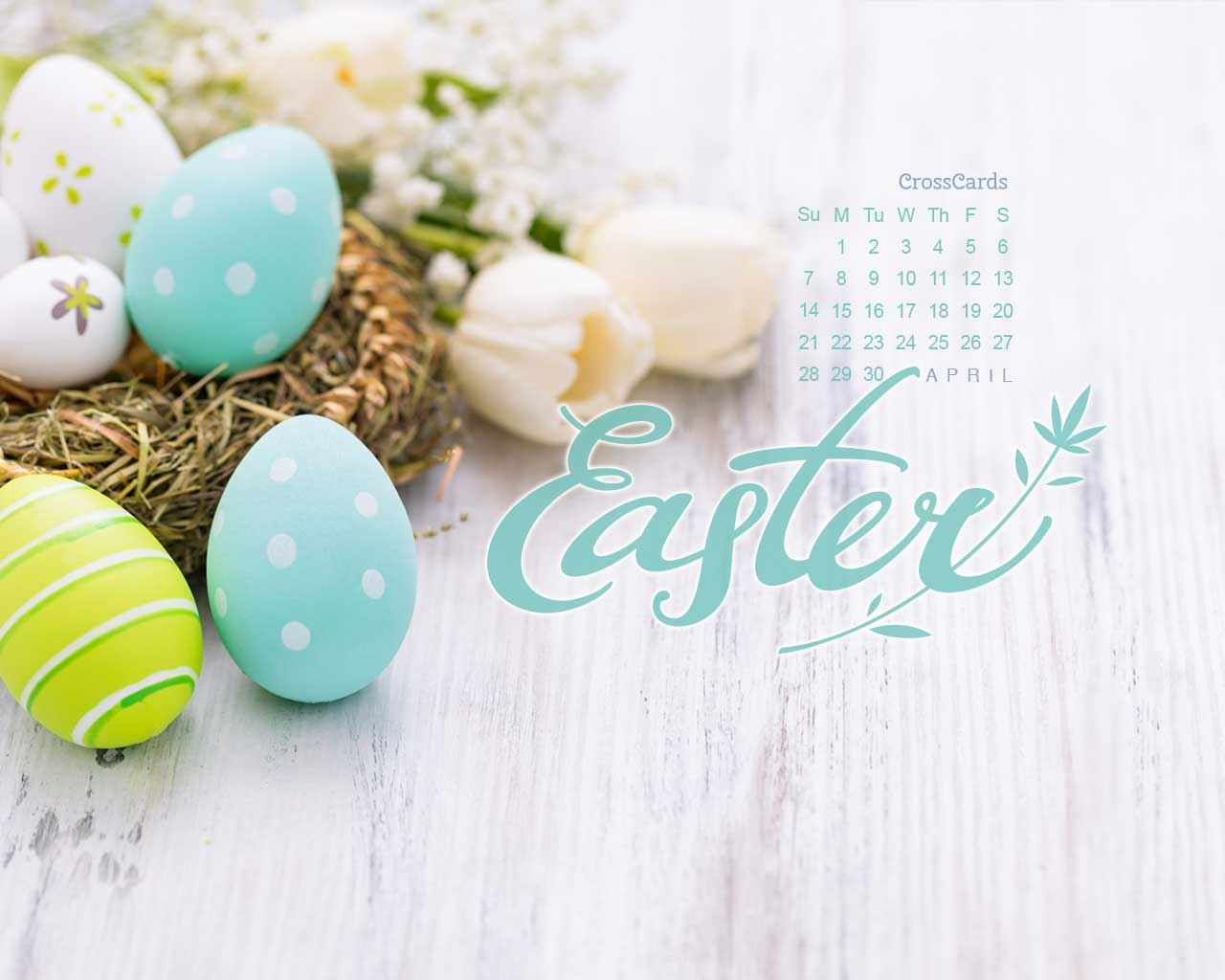 April 2019 Easter Eggs Desktop Calendar Free April Wallpaper