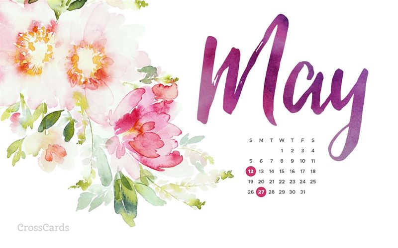 May 2019 - Watercolor Flowers mobile phone wallpaper