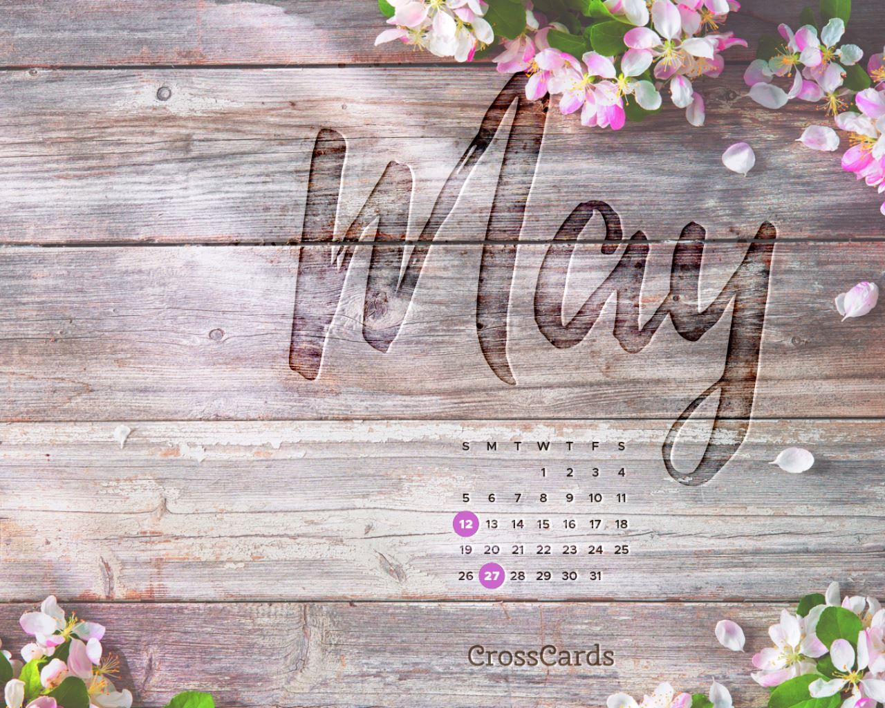 May 2019 Cherry Blossoms Desktop Calendar Free May Wallpaper