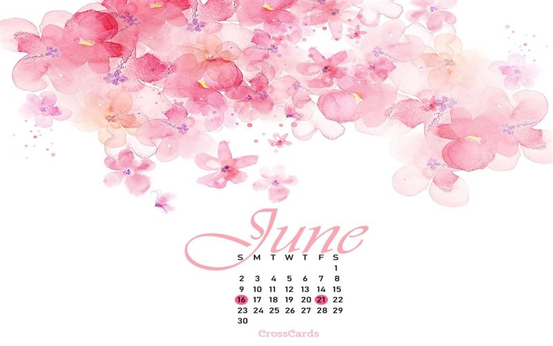 June 2019 - Watercolors mobile phone wallpaper