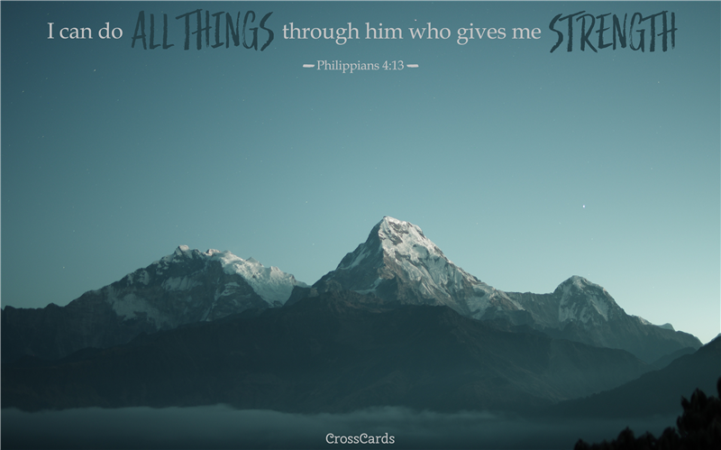 Philippians 4:13 Mountaintop mobile phone wallpaper