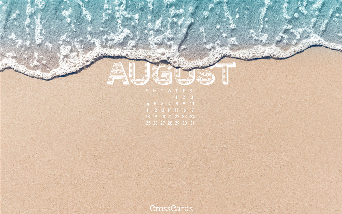August 2019 - Beach waves ecard, online card