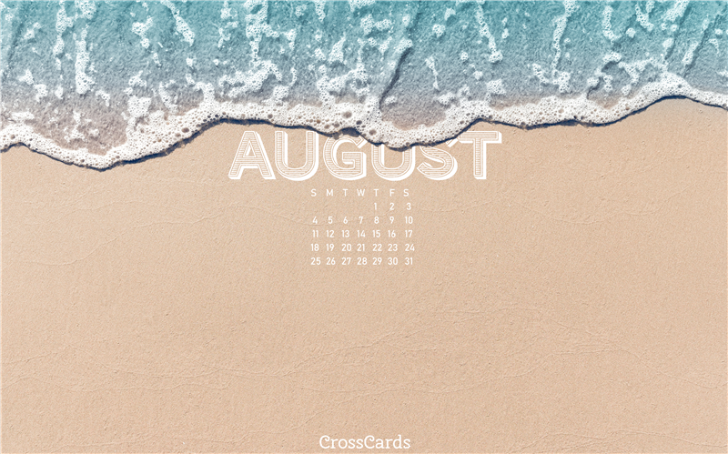 August 2019 - Beach waves mobile phone wallpaper