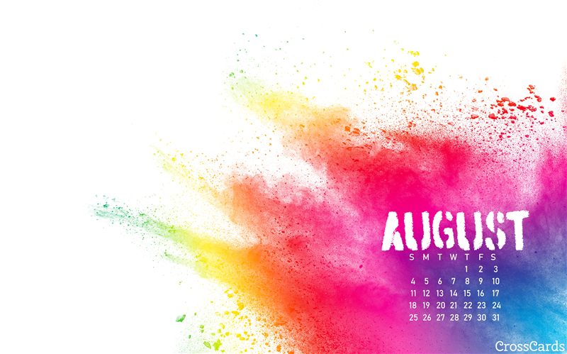 August 2019 Paint Splash Desktop Calendar Free August