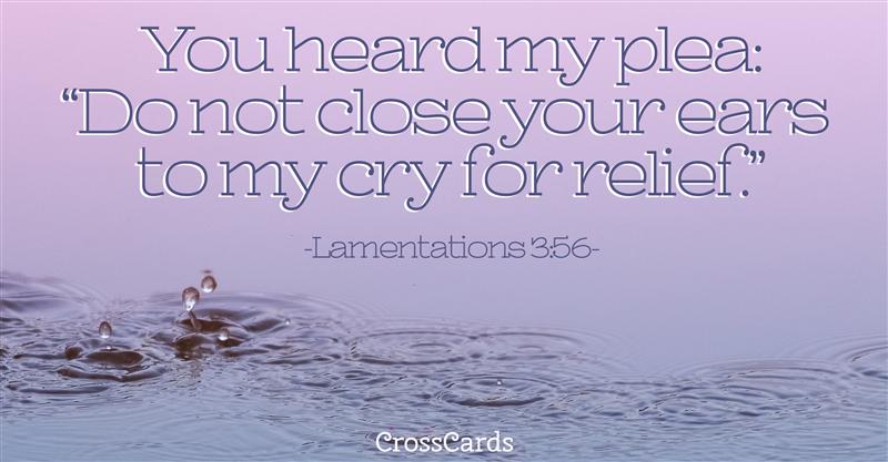 Lamentations 3:56 ecard, online card