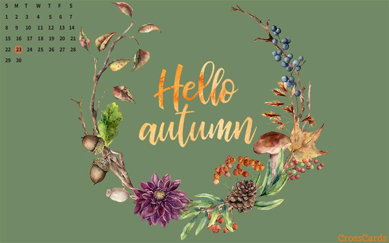 September 2019 Hello Autumn Desktop Calendar Free