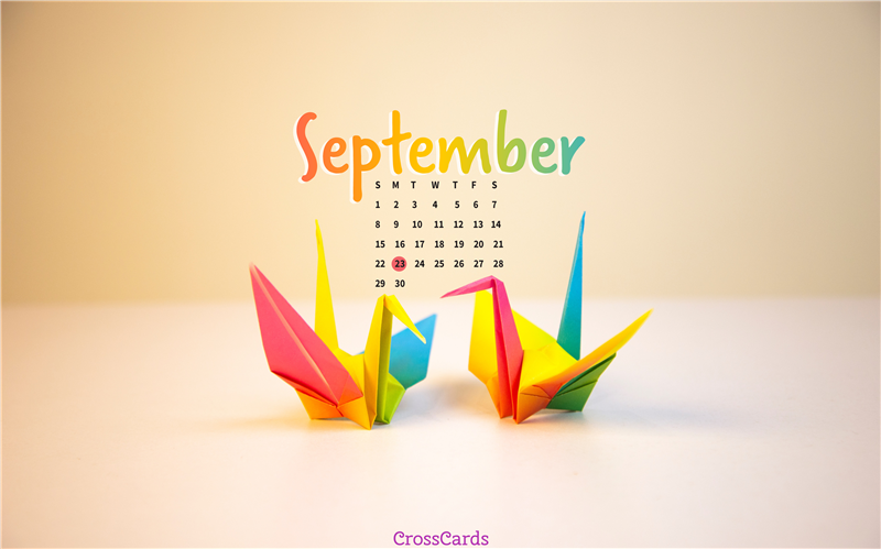 September 2019 - Origami mobile phone wallpaper