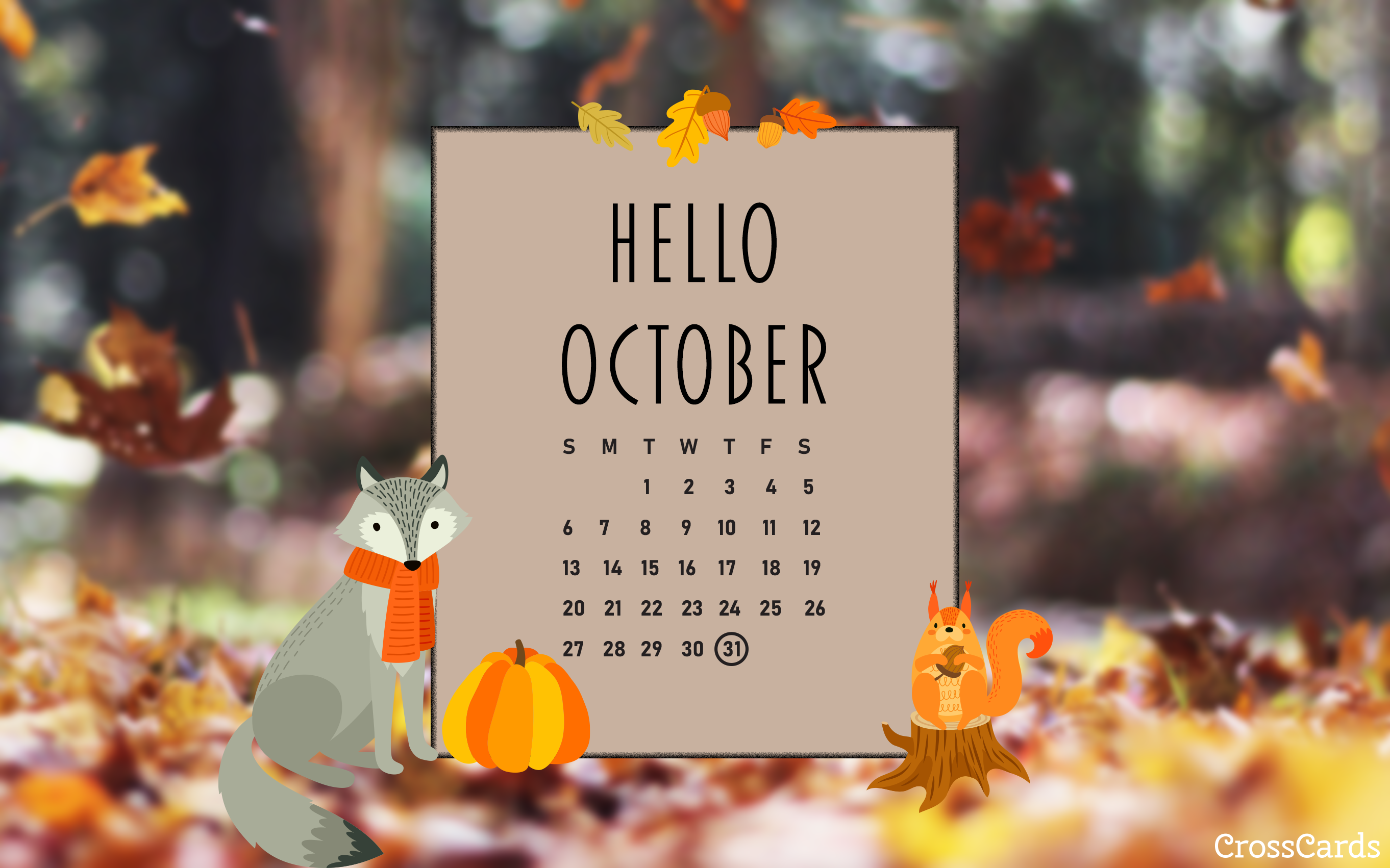 October 2019 Hello October Desktop Calendar Free