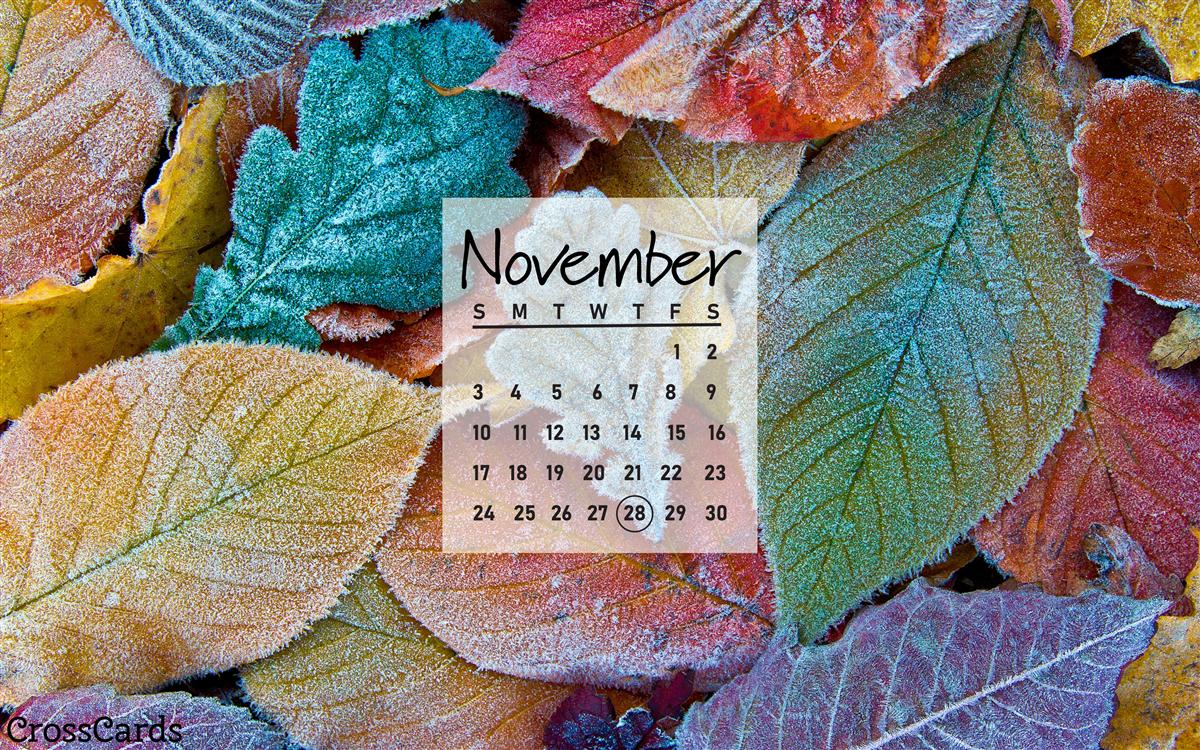 November 2019 - Frosted Leaves ecard, online card