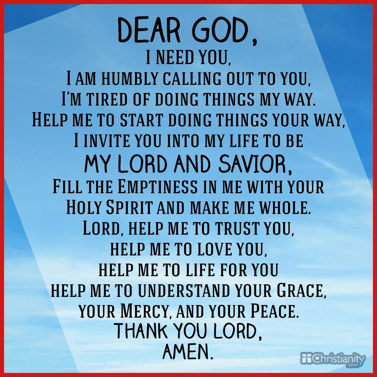 Dear God: I Need You