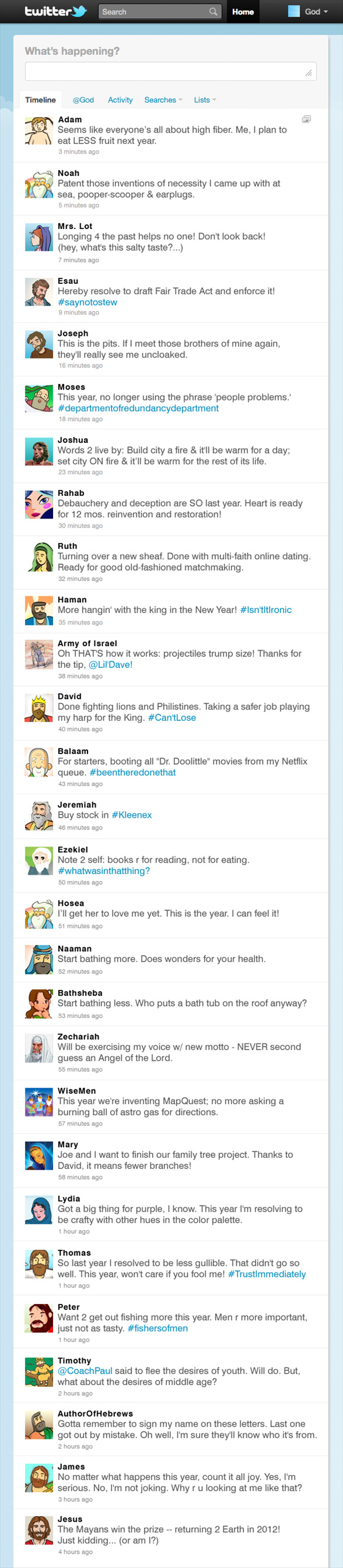 Bible Characters Tweet New Years Resolutions