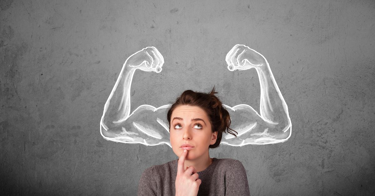 woman with strong arms design above her head