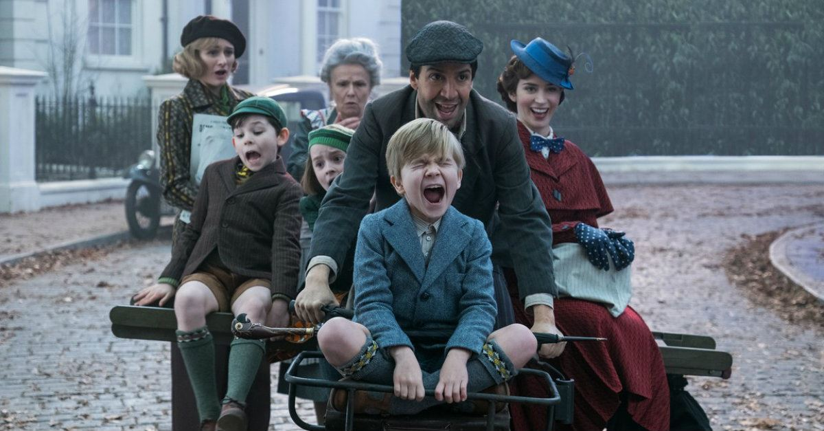 Mary Poppins Returns entire cast on a bicycle