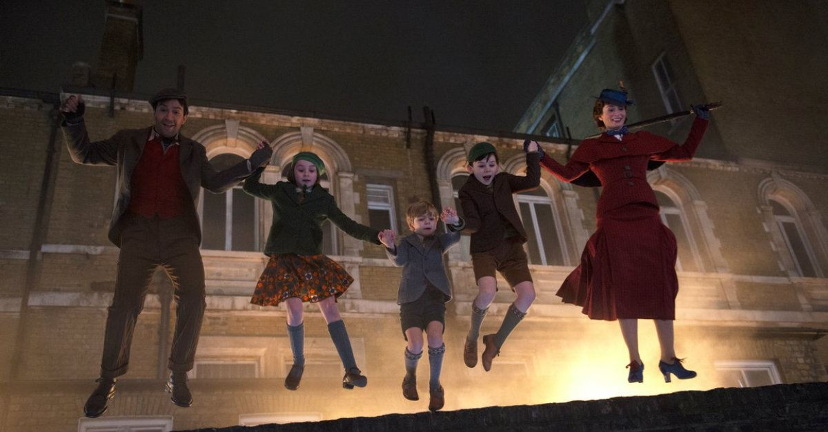 Mary Poppins Returns, Mary, Jack and kids jump from a brick wall