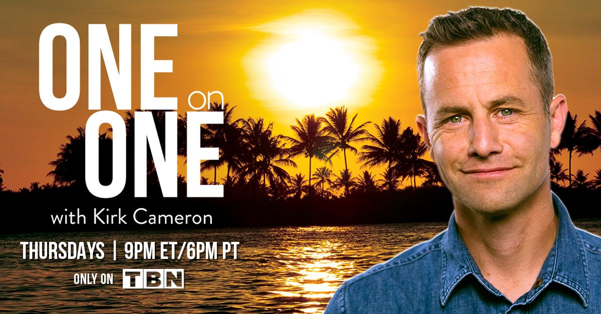 closeup of Kirk Cameron, sunset tropical background, One on One showtime details