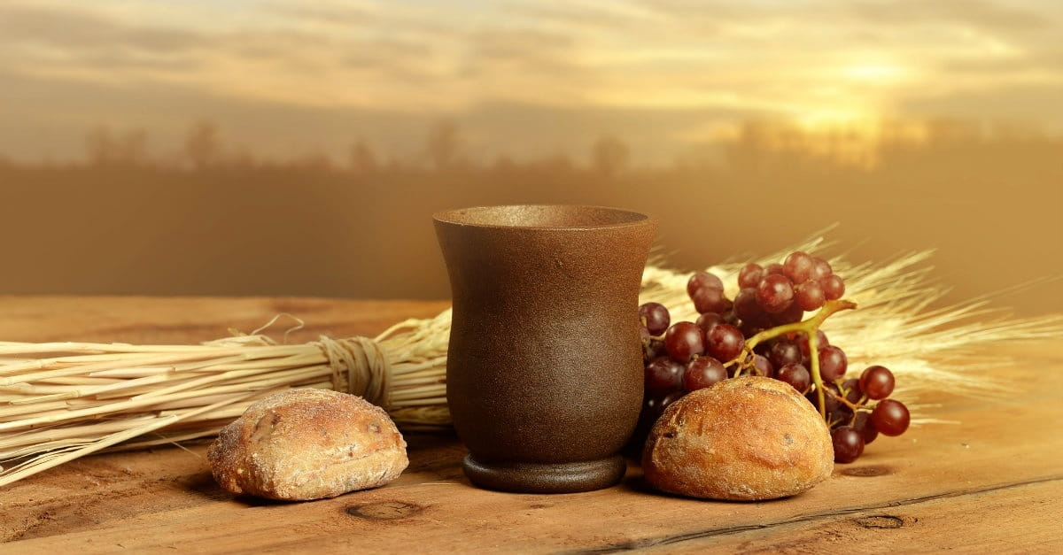 3. This remembrance uses tangible elements: bread and wine.