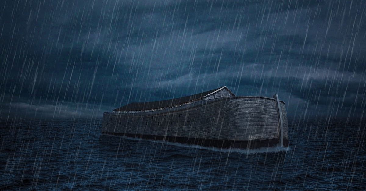 Noah's ark in flood