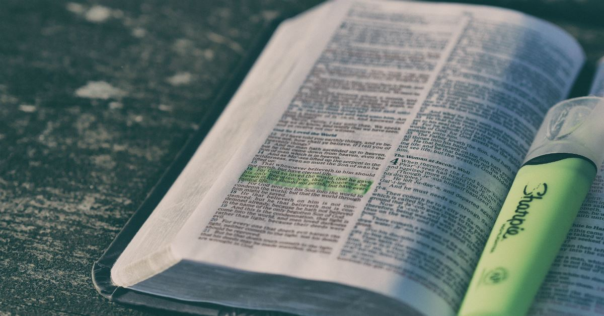 Open Bible, highlit with highlighter