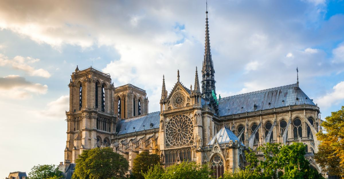 upshot of Notre Dame Cathedral at sunset