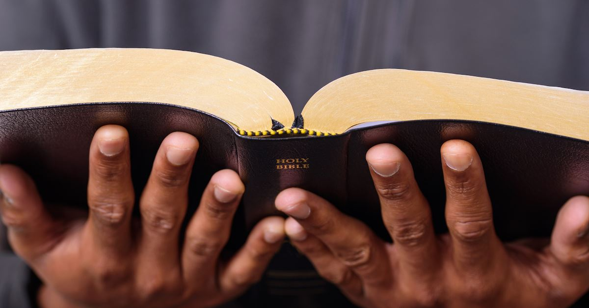 man holding open Bible, what does God look like?