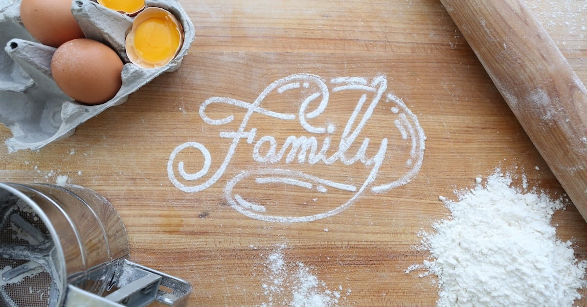 family spelled out in flour on counter, thanksgiving