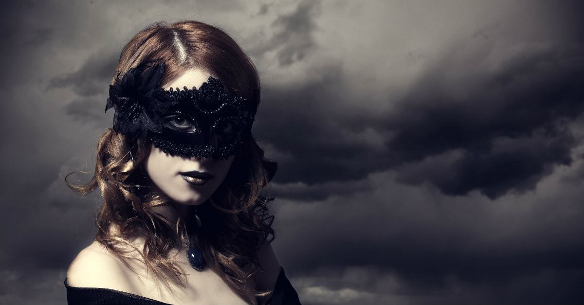 woman wearing black mask