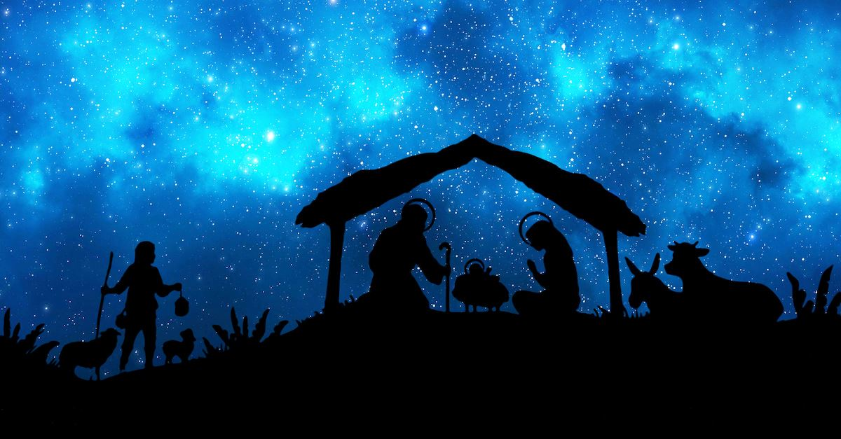 Nativity scene with blue background, birth of Jesus