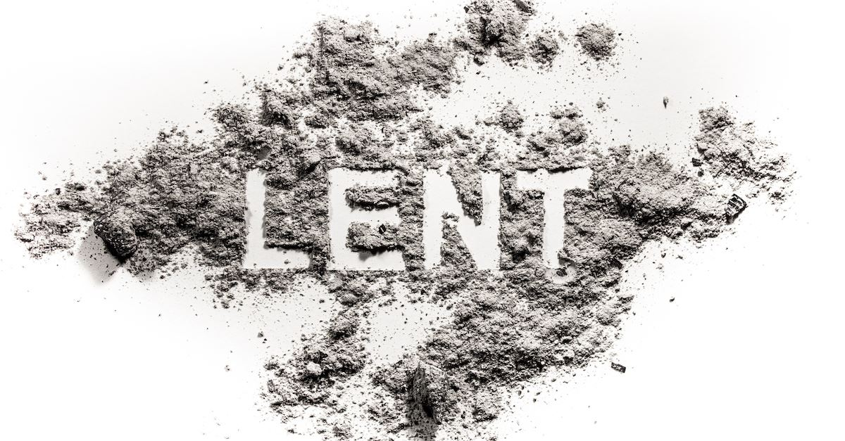 the Word Lent in white against gray ashes background, when is Lent
