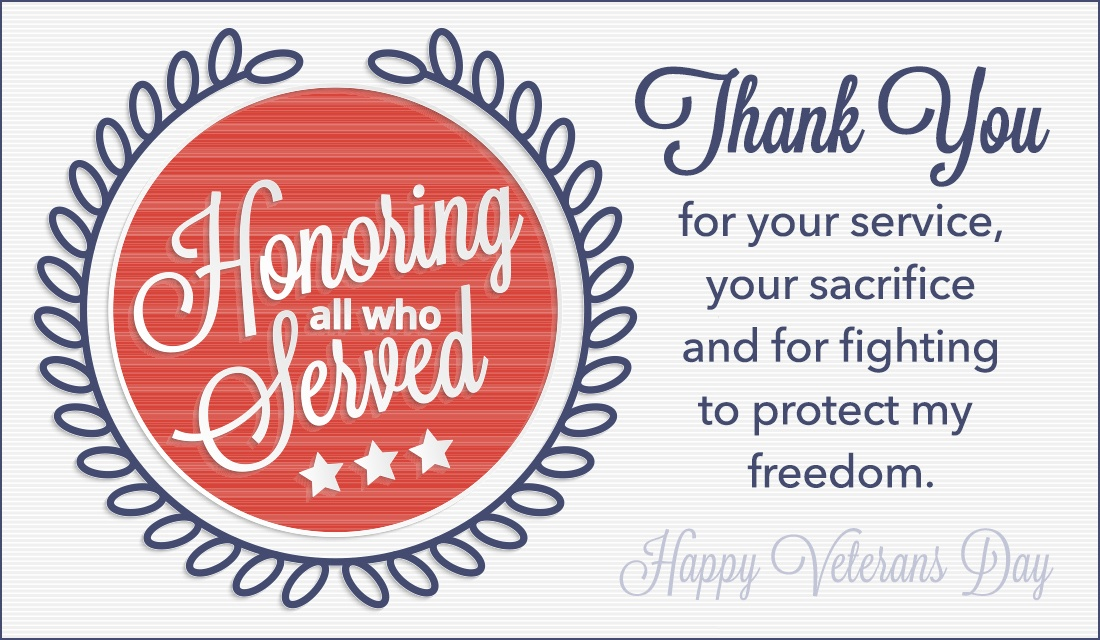Honoring All Who Served ecard, online card