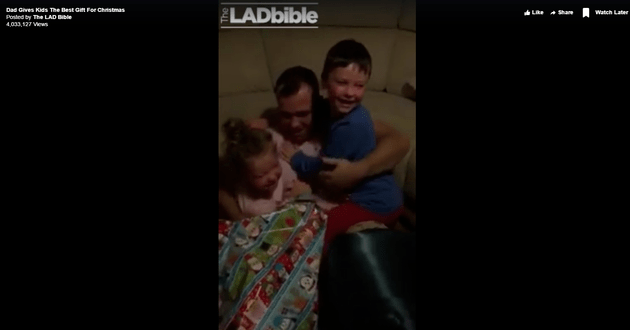 Navy Daddy Surprises Children For Christmas