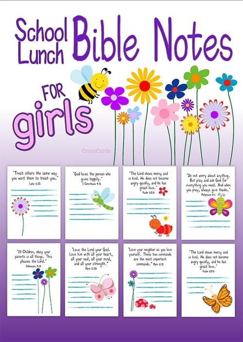 School Lunch Bible Notes for Girls - Free Printable