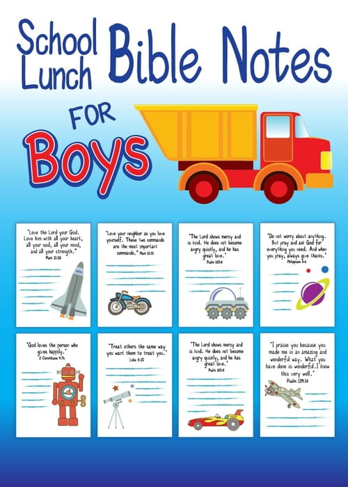 School Lunch Bible Notes for Boys - Free Printable