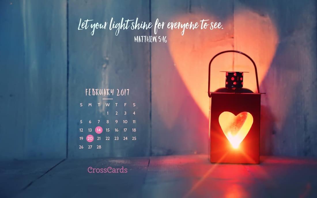 February 2017 - Let Your Light Shine mobile phone wallpaper