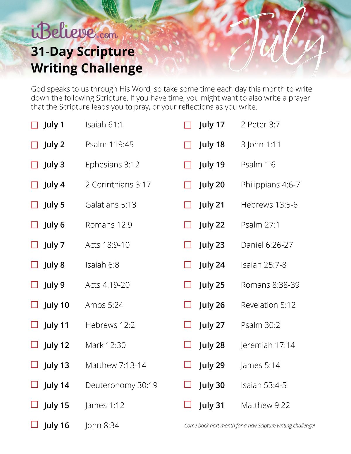 photograph regarding 24 Day Challenge Printable Guide identified as July Scripture Creating Direct - Obtain Free of charge Printable!