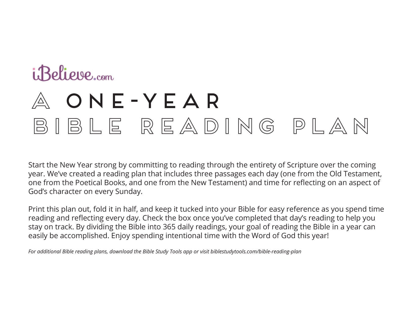 2018 Daily Bible Reading Plan