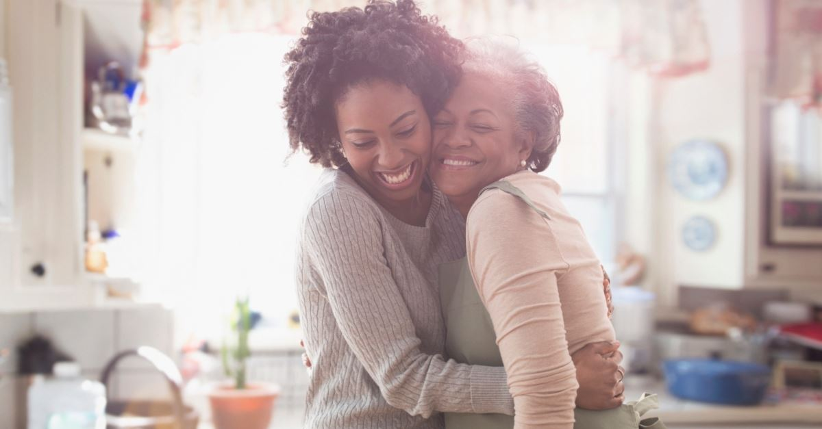 adult daughter hugging mother, honor god when honor parents