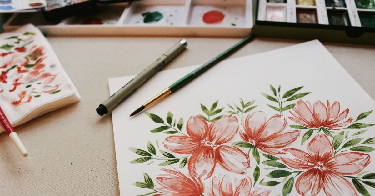 flower painting and art supplies