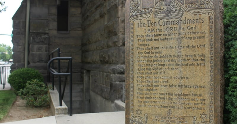 Man Smashes New Ten Commandments Monument