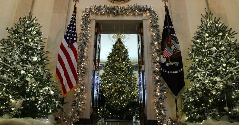 white house displays beautiful nativity scene with baby jesus
