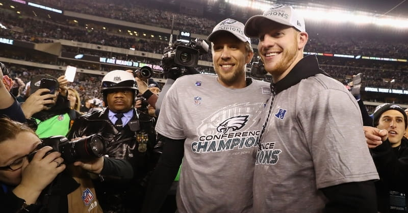 Philadelphia Eagles' Carson Wentz Prays for Nick Foles in the Locker Room