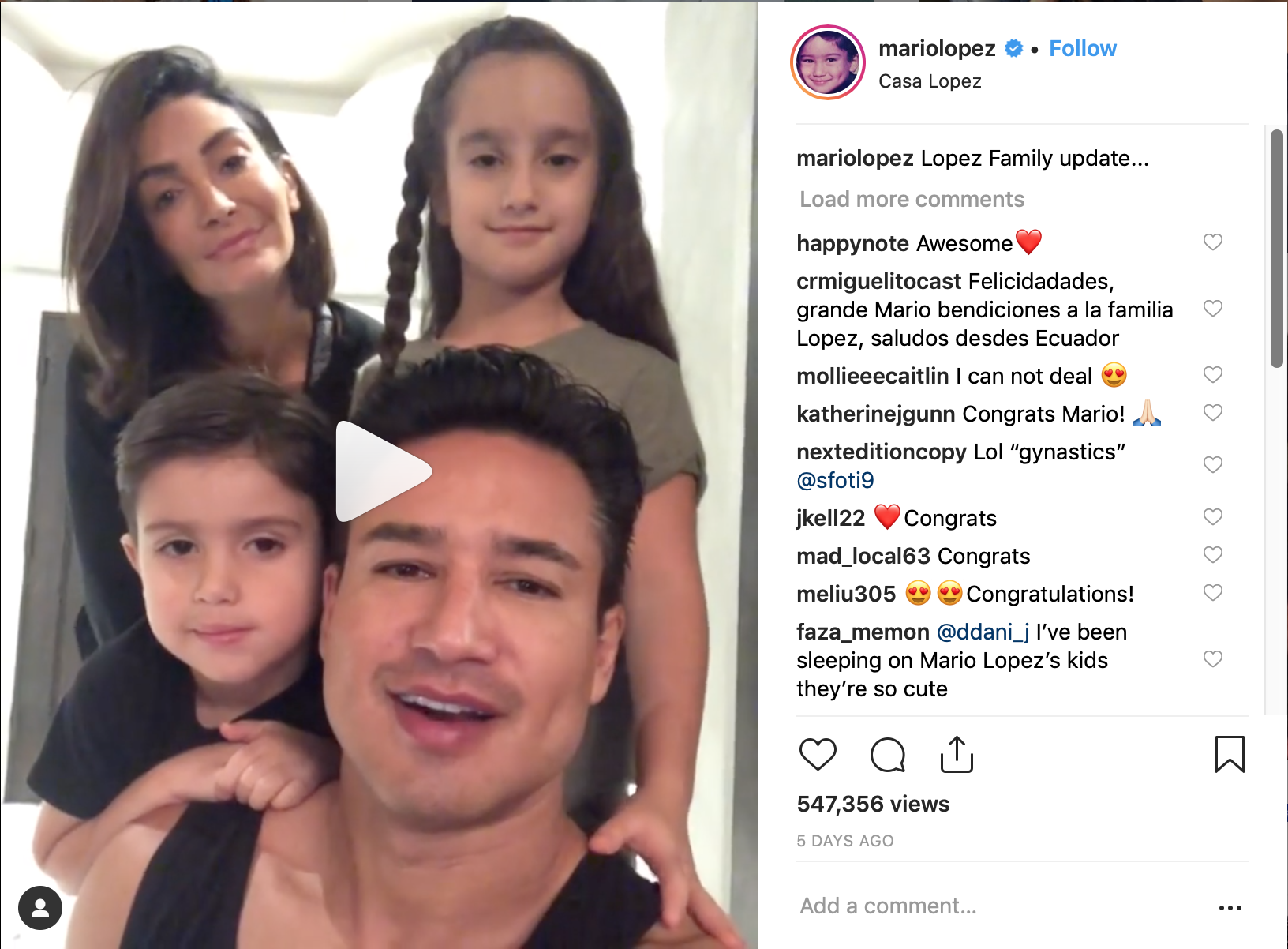 Mario Lopez Receives Miracle Announces Wife S Pregnancy After