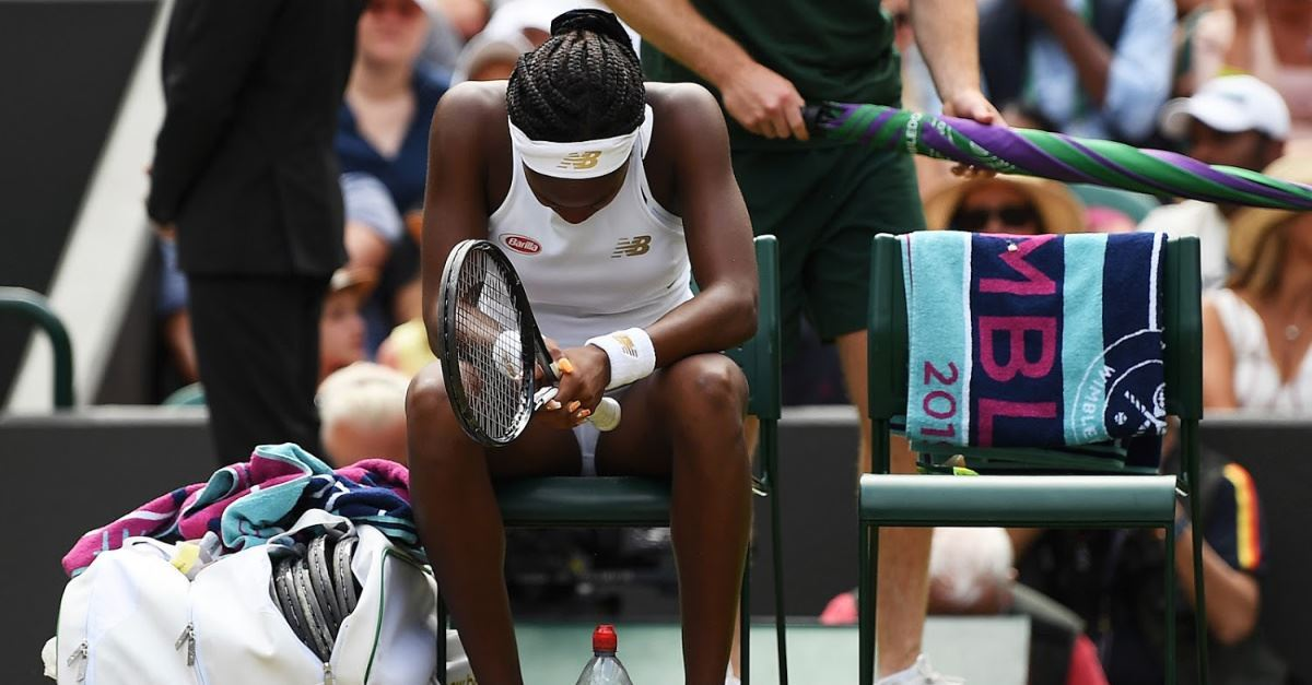 Coco Gauff praying at Wimbledon