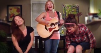 Three Young Ladies Make Beautiful Christian Music With Household Items