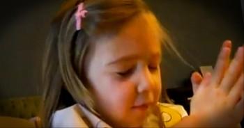 Sweet Little Girl Thanks God for Pizza